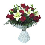 """Bouquet of flowers from lilies and roses"" in the online flower shop roza.zp.ua"