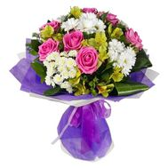 """""""Bouquet of 7 roses, 5 chrysanthemums and 7 alstromeries"""" in the online flower shop roza.zp.ua"""