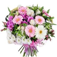 """""""Bouquet of gerberas, roses, chrysanthemums and alstroemerias"""" in the online flower shop roza.zp.ua"""
