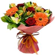 """Bouquet of orchids, roses, gerberas and alstroemerias"" in the online flower shop roza.zp.ua"