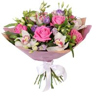 """Bouquet of orchids, eustom, roses and alstroemerias"" in the online flower shop roza.zp.ua"