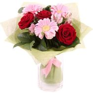 """""""Bouquet of gerberas, roses and alstroemerias"""" in the online flower shop roza.zp.ua"""