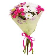 """""""Bouquet of 3 bush roses and 4 chrysanthemums"""" in the online flower shop roza.zp.ua"""