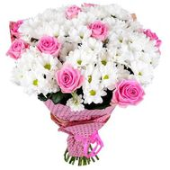"""Bouquet of flowers from chrysanthemums and roses"" in the online flower shop roza.zp.ua"