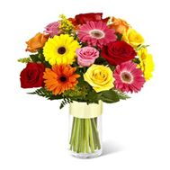 """""""Merry bouquet of roses and gerberas"""" in the online flower shop roza.zp.ua"""