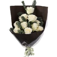 White roses with spruce - flowers and bouquets on roza.zp.ua