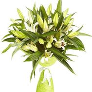 A bouquet of snow-white lilies - flowers and bouquets on roza.zp.ua