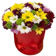 Chrysanthemums in a Hat Box - flowers and bouquets on roza.zp.ua