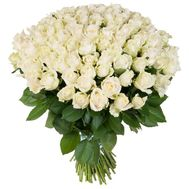 """Bouquet of 101 white roses with free delivery to Zaporozhye!"" in the online flower shop roza.zp.ua"