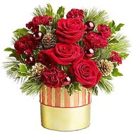 Christmas composition in a round box - flowers and bouquets on roza.zp.ua