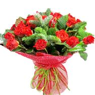 Amazing New Year bouquet of red roses - flowers and bouquets on roza.zp.ua