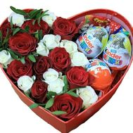 Beautiful heart of roses and kinder - flowers and bouquets on roza.zp.ua