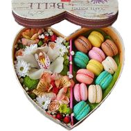 Heart with orchid and macaroons - flowers and bouquets on roza.zp.ua