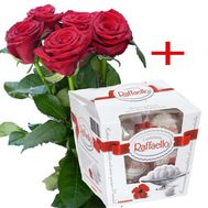5 red roses and Raffaello - flowers and bouquets on roza.zp.ua