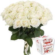 51 white rose and rafaello - flowers and bouquets on roza.zp.ua