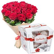 25 red roses and rafaello - flowers and bouquets on roza.zp.ua