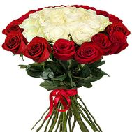 """Red white bouquet of imported roses"" in the online flower shop roza.zp.ua"