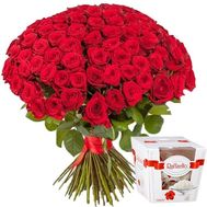 101 red roses + Raffaello candies - flowers and bouquets on roza.zp.ua