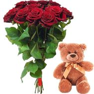 11 red roses and teddy bear - flowers and bouquets on roza.zp.ua
