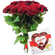 11 roses and candy - flowers and bouquets on roza.zp.ua