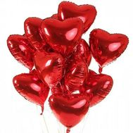 15 heart shaped balloons - flowers and bouquets on roza.zp.ua