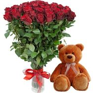 """51 red rose and Teddy Bear"" in the online flower shop roza.zp.ua"