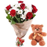 """Bouquet of flowers and Teddy Bear"" in the online flower shop roza.zp.ua"