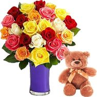 Bouquet of flowers with Teddy Bear - flowers and bouquets on roza.zp.ua