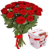 Bouquet of red roses and Raffaello candies - flowers and bouquets on roza.zp.ua
