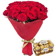 Bouquet of roses and Ferrero Rocher - flowers and bouquets on roza.zp.ua