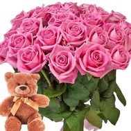 """Bouquet of roses and Teddy Bear"" in the online flower shop roza.zp.ua"