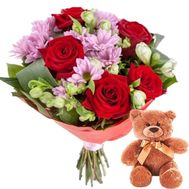 Flowers and Teddy Bear - flowers and bouquets on roza.zp.ua
