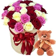 Box of roses and teddy bear - flowers and bouquets on roza.zp.ua