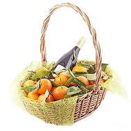 Корзина мандарин c вином - цветы и букеты на roza.zp.ua