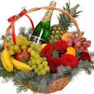 Basket of fruit, champagne and flowers - flowers and bouquets on roza.zp.ua