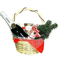 Basket with champagne and Raffaello - flowers and bouquets on roza.zp.ua