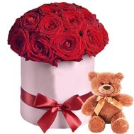 Red roses in the box and teddy bear - flowers and bouquets on roza.zp.ua