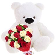 Big Teddy bear with a bouquet of roses - flowers and bouquets on roza.zp.ua