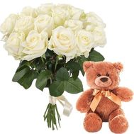 Teddy Bear and bouquet of white roses - flowers and bouquets on roza.zp.ua