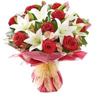 New Year's bouquet of lilies and roses - flowers and bouquets on roza.zp.ua