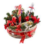 Новогодняя корзина сладостей - цветы и букеты на roza.zp.ua