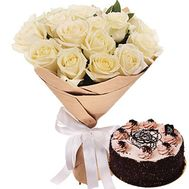 Chocolate cake with a bouquet of roses - flowers and bouquets on roza.zp.ua