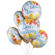 Связка фольгированных шаров на День Рождение - цветы и букеты на roza.zp.ua