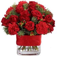 Winter bouquet in red colors - flowers and bouquets on roza.zp.ua