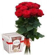 11 roses and Rafaello - flowers and bouquets on roza.zp.ua