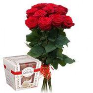 11 роз и Rafaello - цветы и букеты на roza.zp.ua