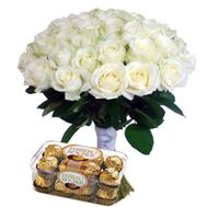 """""""35 white roses and Ferrero"""" in the online flower shop roza.zp.ua"""