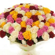 Bouquet of 101 different colored roses - flowers and bouquets on roza.zp.ua