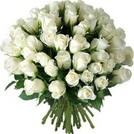 Bouquet of 55 white roses - flowers and bouquets on roza.zp.ua