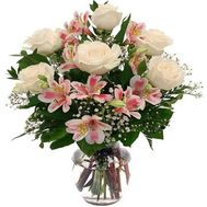 Bouquet of flowers from alstromeries and roses - flowers and bouquets on roza.zp.ua